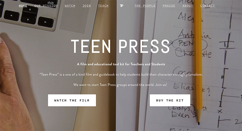 TeenPressTheMovie.com Homepage